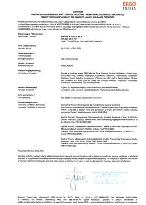 Certyfikat OCS + OCPu +Niemcy + inne- BIAL-MICH Sp z o o Sp K 2021